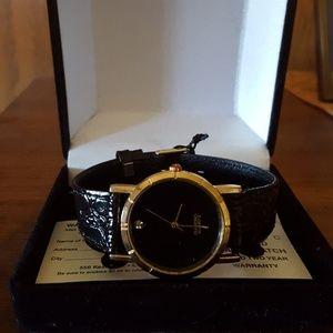 Women's Watch,  black band, genuine diamond